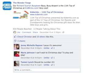 Wonder Forge facebook fan post